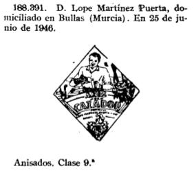 """Registro de la marca """"Anís Cazador"""" (1946)"""