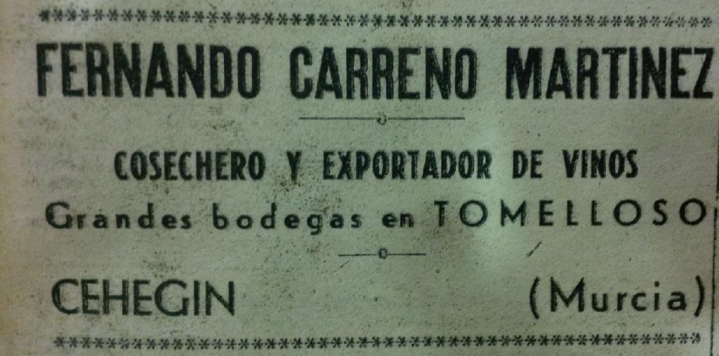 Publicidad de Fernando Carreño Martínez (1940)